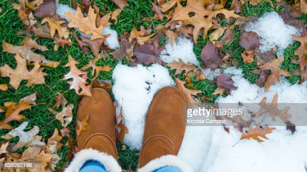 Low Section Of Woman Standing In Park with some Snow and Dry Leaves