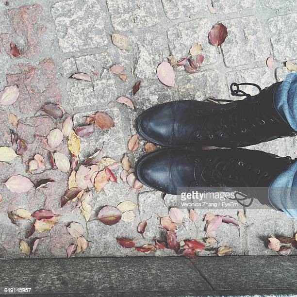 Low Section Of Woman Standing On Footpath With Dry Leaves During Winter