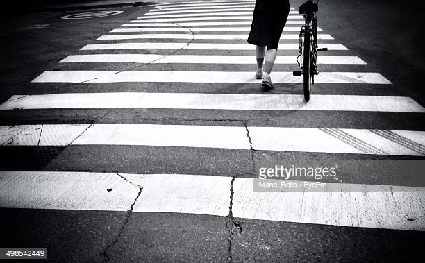 Low section of woman with bicycle walking on crosswalk