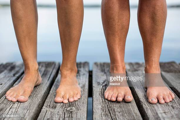 Low section of women standing on pier