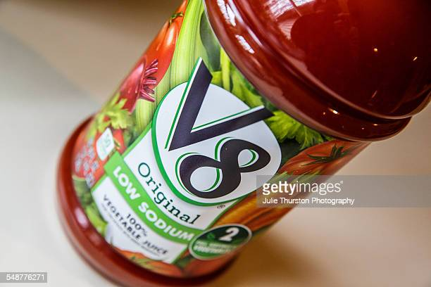 V8 low sodium Original 100% vegetable juice in large plastic recyclable container Paper label shows photos of tomatoes carrots celery and beets A...