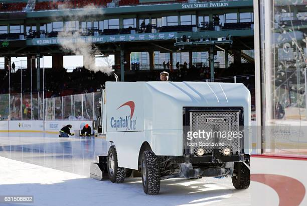 Low temperatures played havoc with the ice during a Frozen Fenway NCAA Men's Division 1 hockey game between the Boston University Terriers and the...