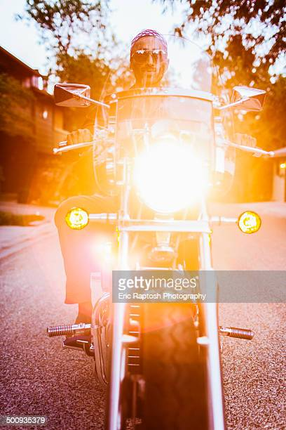 Low view of man on motorcycle