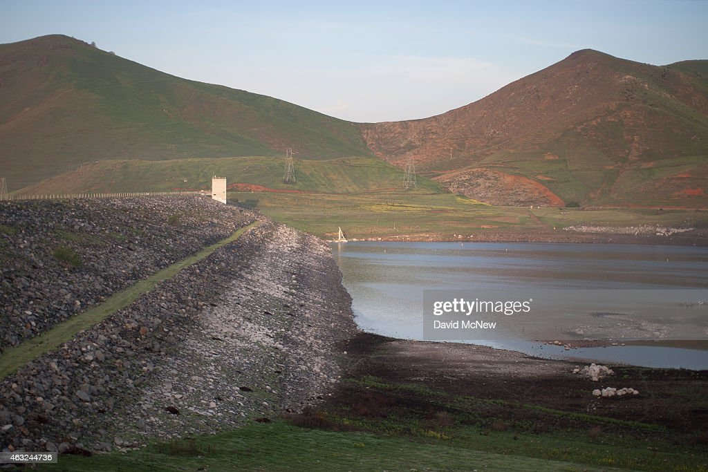 Low water is seen at the dam of Lake Success as rain totals remain insufficient to break the worsening drought on February 11 2015 near East...