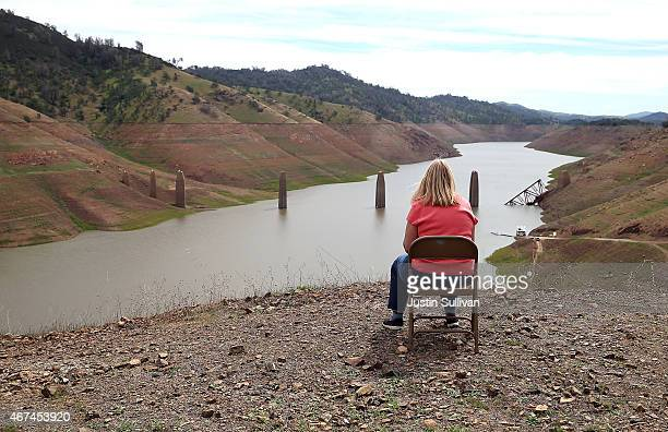 Low water levels are visible at Lake McClure on March 24 2015 in La Grange California More than 3000 residents in the Sierra Nevada foothill...
