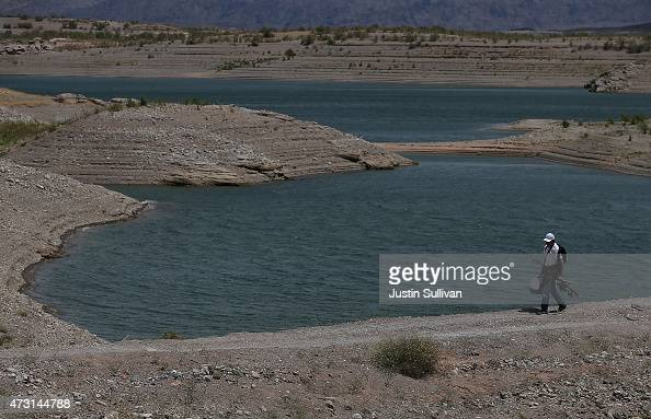 Low water levels are visible at Lake Mead near Upper Government Wash Cove on May 12 2015 in Lake Mead National Recreation Area Nevada As severe...