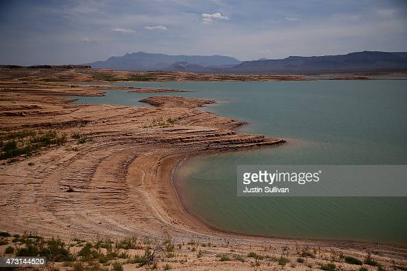 Low water levels are visible at Lake Mead's Stewarts Bay on May 12 2015 in Lake Mead National Recreation Area Nevada As severe drought grips parts of...