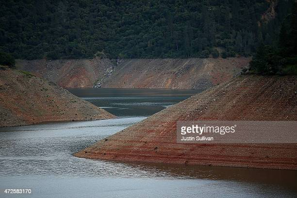 Low water levels are visible at Lake Oroville on May 7 2015 in Oroville California As California enters its fourth year of severe drought the State's...
