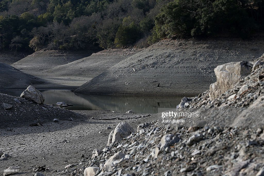 Low water levels are visible at the Almaden Reservoir on January 28 2014 in San Jose California Now in its third straight year of drought conditions...