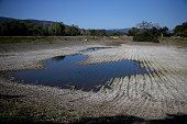 Low water levels are visible at the Los Capitancillos Recharge Ponds on April 3 2015 in San Jose California As California enters its fourth year of...