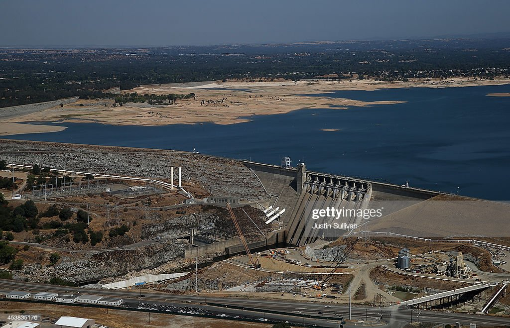 Low water levels are visible behind the Folsom Dam at Folsom Lake on August 19 2014 in El Folsom California As the severe drought in California...