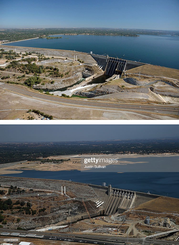 In this beforeandafter composite image Full water levels are visible behind the Folsom Dam at Folsom Lake on July 20 2011 in El Folsom California...