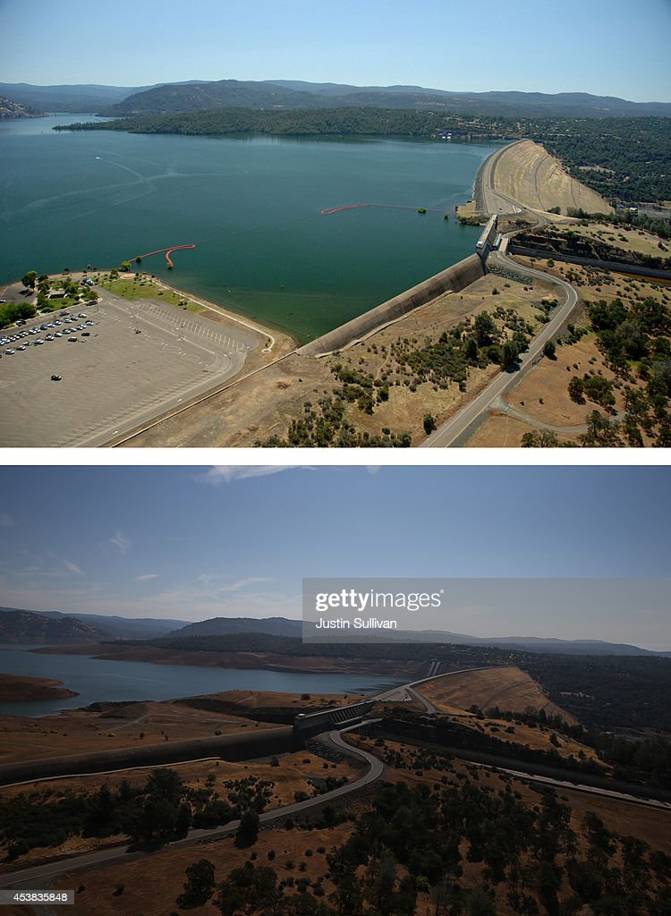 In this beforeandafter composite image Full water levels are visible behind the Oroville Dam at Lake Oroville on July 20 2011 in Oroville California...