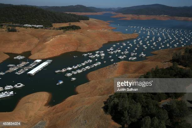 Low water levels are visible in the Bidwell Marina at Lake Oroville on August 19 2014 in Oroville California As the severe drought in California...