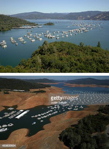 In this beforeandafter composite image Full water levels are visible in the Bidwell Marina at Lake Oroville on on July 20 2011 in Oroville California...