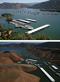 In this beforeandafter composite image Full water levels are visible in the Bidwell Marina at Lake Oroville on July 20 2011 in Oroville California...
