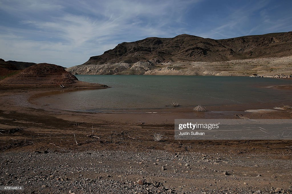 Low water levels are visible near the abandoned Echo Bay Marina on May 12 2015 in Lake Mead National Recreation Area Nevada As severe drought grips...
