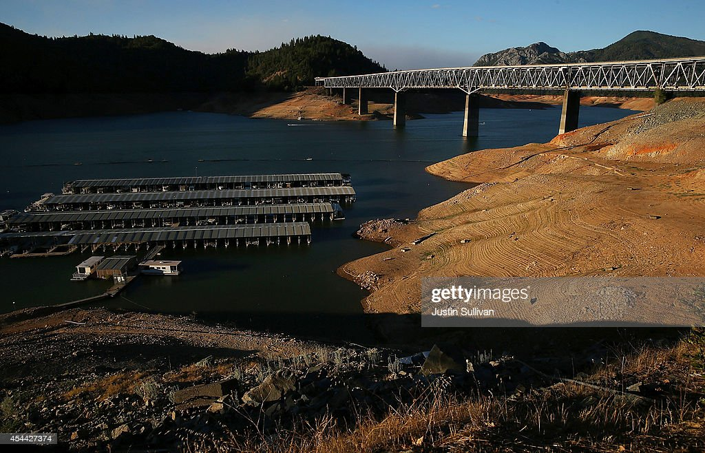 Low water levels are visible on the banks of Shasta Lake at Bridge Bay Resort on August 30 2014 in Redding California As the severe drought in...