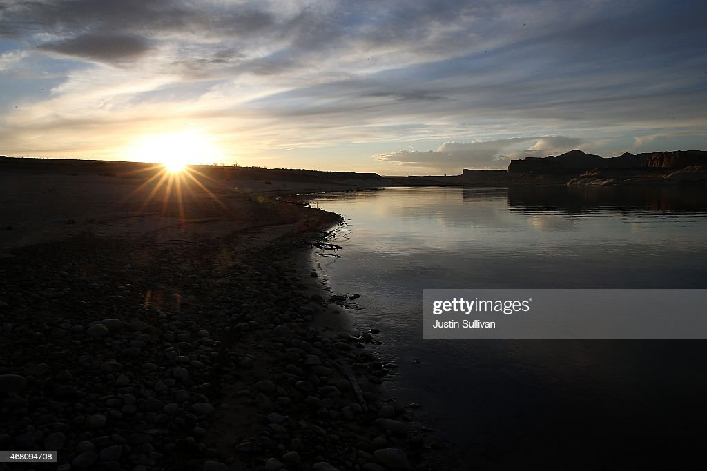 Low water levels are visible on the southern edge of Lake Powell at Lone rock Camp on March 29 2015 near Big Water Utah As severe drought grips parts...