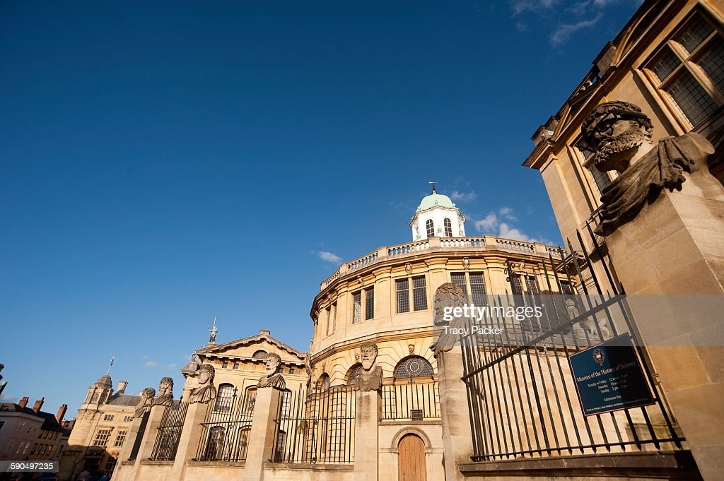 A low wide angle view of the Sheldonian Theatre designed by Sir Christopher Wren and built from 166469 A Grade I Listed building with an eight sided...