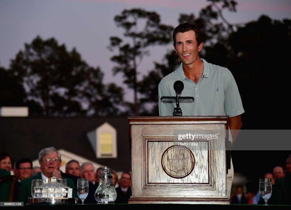 Low-Amateur Stewart Hagestad of the United States speaks during the Green Jacket ceremony after Sergio Garcia of Spain won in a playoff during the final round of the 2017 Masters Tournament at Augusta National Golf Club on April 9, 2017 in Augusta, Georgia.