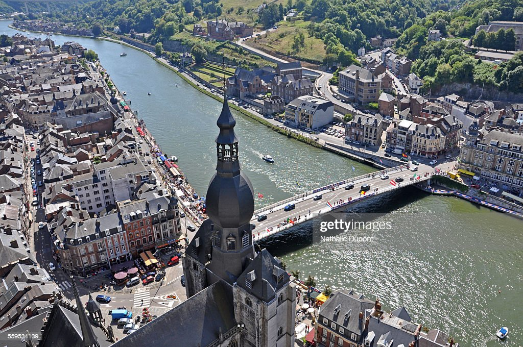 Low-angle shot on the city of Dinant