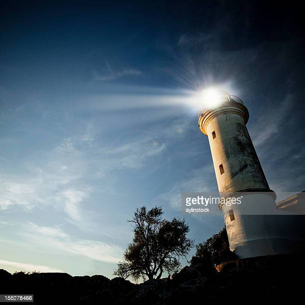 Low-angle view of a lighthouse at twilight