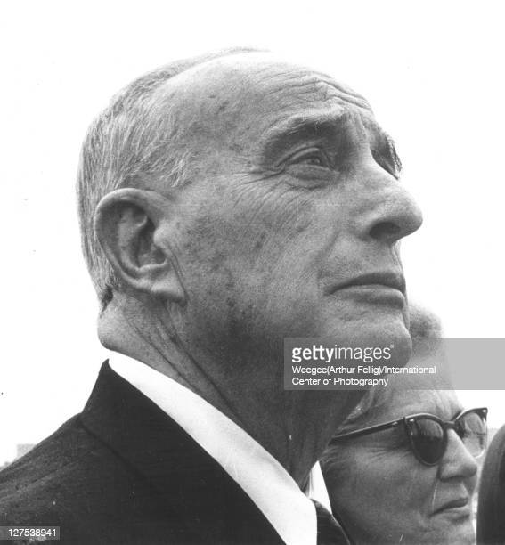 Lowangle view of American public official and city planner Robert Moses as he attends the New York's World's Fair Flushing Meadows New York New York...