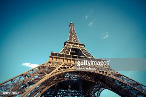 France, Paris, Low-angle view of Eiffel Tower