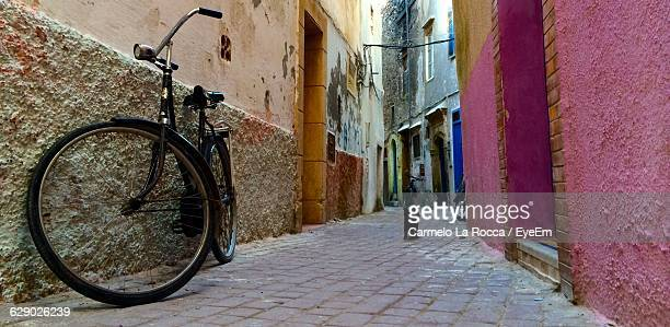 Low-Angle View Of Side Street With Bike