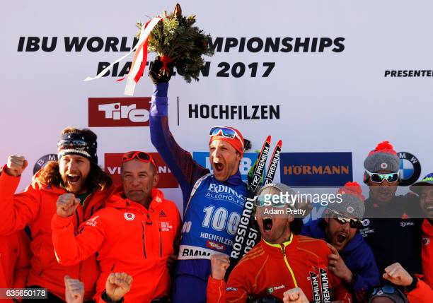 Lowell Bailey of the USA celebrates winning the Gold medal in the Men's 20km Individual competition of the IBU World Championships Biathlon 2017 at...