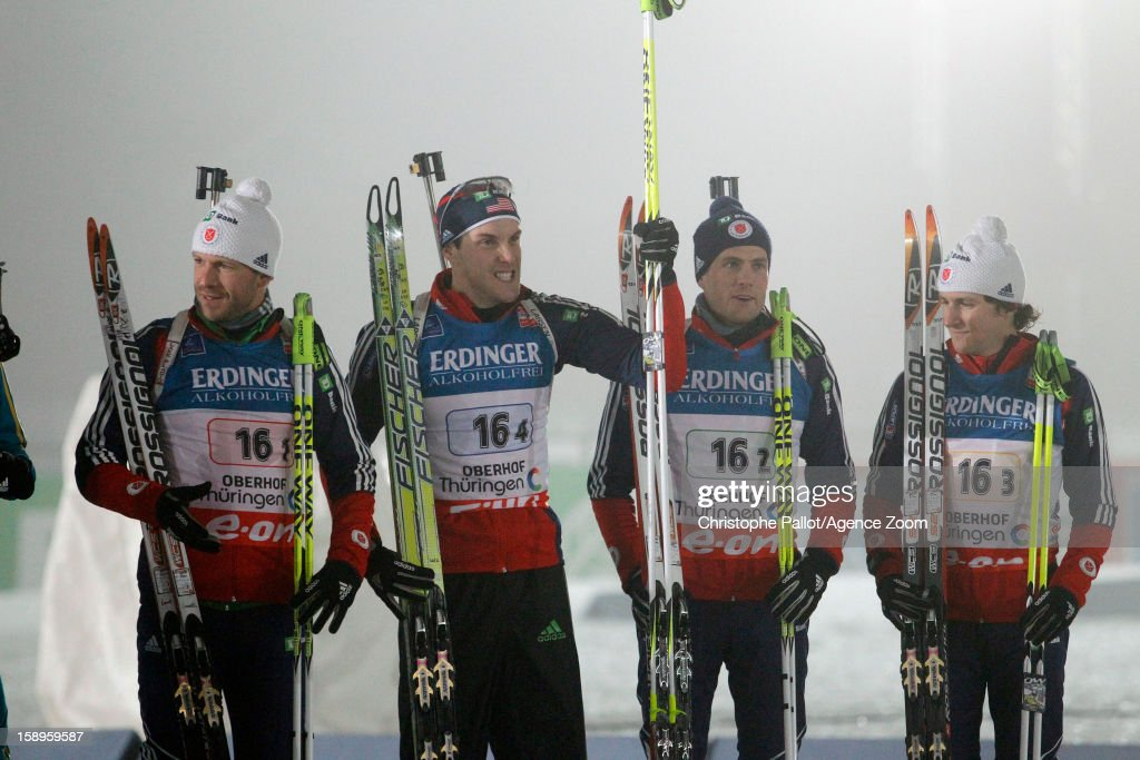 Lowell Bailey of the USA, Tim Burke of the USA, Russel Currier of USA, Leif Nordgren of the USA come in 5th after competing in the IBU Biathlon World Cup Men's Relay on January 04, 2013 in Oberhof, Germany.