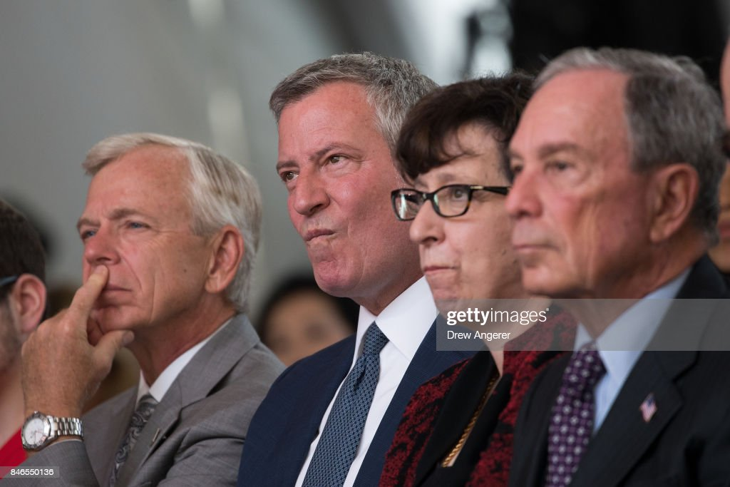 Lowell McAdam, chief executive officer of Verizon Communications, New York City Mayor Bill de Blasio, Martha Pollack, president of Cornell University and former New York City Mayor Michael Bloomberg attend a dedication ceremony to mark the opening of the new campus of Cornell Tech on Roosevelt Island, September 13, 2017 in New York City. Seven years ago, former New York City Mayor Michael Bloomberg created a competition that invited top universities to open an applied-science campus in New York City. Cornell Tech, an engineering and science campus of Cornell University, officially opened its doors on Wednesday.