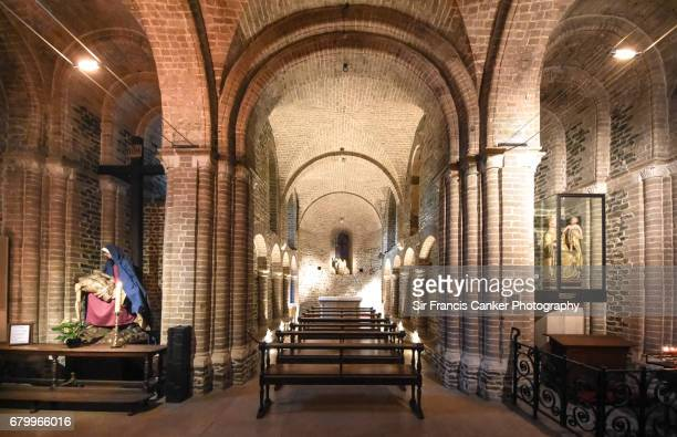 Lower Basilica of the Holy Blood in Romanesque style in Bruges, Belgium, a UNESCO Heritage Site