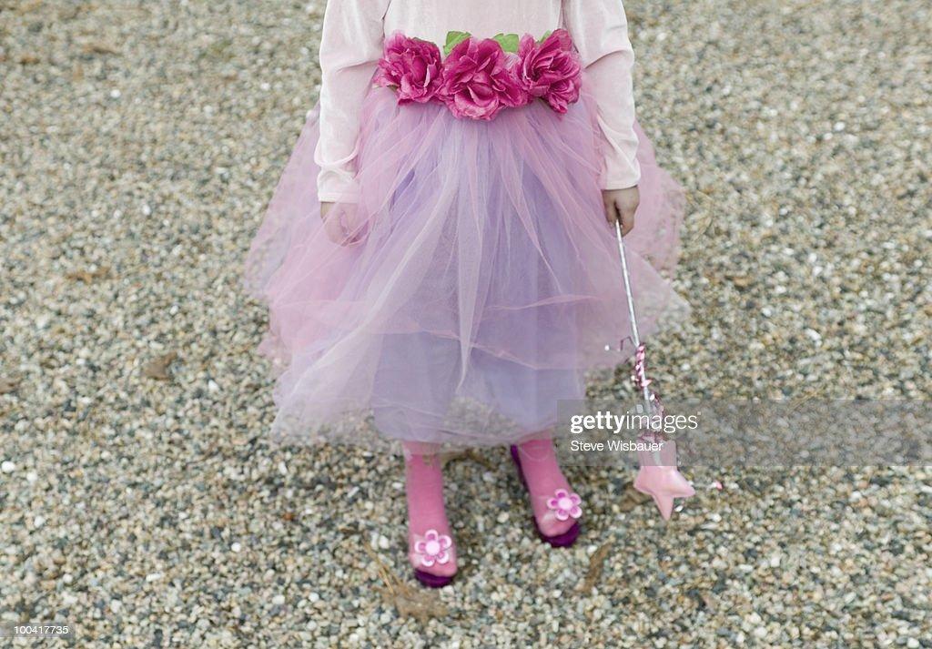 Lower half of girl dressed up as fairy princess : Stock Photo