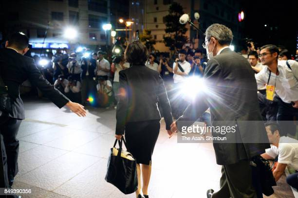 Lower house lawmaker Mayuko Toyoda leaves after a press conference after the meeting with her supporters t her constituency on September 18 2017 in...