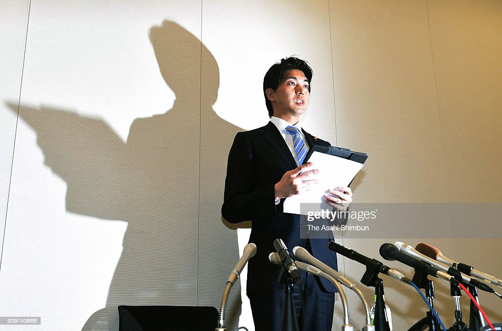 Lower House member <a gi-track='captionPersonalityLinkClicked' href=/galleries/search?phrase=Kensuke+Miyazaki&family=editorial&specificpeople=13799844 ng-click='$event.stopPropagation()'>Kensuke Miyazaki</a> reads a statement in a news conference on February 12, 2016 in Tokyo, Japan. A ruling Liberal Democratic Party Lower House member who planned to be the first Diet member to take paternity leave said that he will resign his seat, acknowledging an extramarital affair while his wife Megumi Kaneko, also a lower house member was about to give birth. On Feburary 10, five days after Kaneko gave birth to a baby boy, the weekly magazine Shukan Bunshun reported that Miyazaki spent a night with a model in his home in Kyoto six days before the birth.