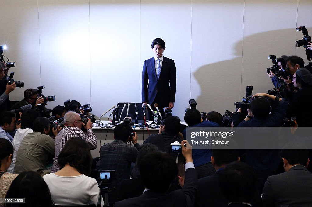 Lower House member <a gi-track='captionPersonalityLinkClicked' href=/galleries/search?phrase=Kensuke+Miyazaki&family=editorial&specificpeople=13799844 ng-click='$event.stopPropagation()'>Kensuke Miyazaki</a> stands to apologise in a news conference on February 12, 2016 in Tokyo, Japan. A ruling Liberal Democratic Party Lower House member who planned to be the first Diet member to take paternity leave said that he will resign his seat, acknowledging an extramarital affair while his wife Megumi Kaneko, also a lower house member was about to give birth. On Feburary 10, five days after Kaneko gave birth to a baby boy, the weekly magazine Shukan Bunshun reported that Miyazaki spent a night with a model in his home in Kyoto six days before the birth.