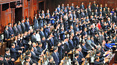 Lower House members make banzai cheers at a plenary session in a longtime practice when the chamber is dissolved at the diet building on November 21...