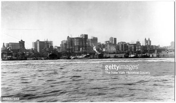 Lower Manhattan and East River viewed from Brooklyn New York New York 1903 Ships and docks visible