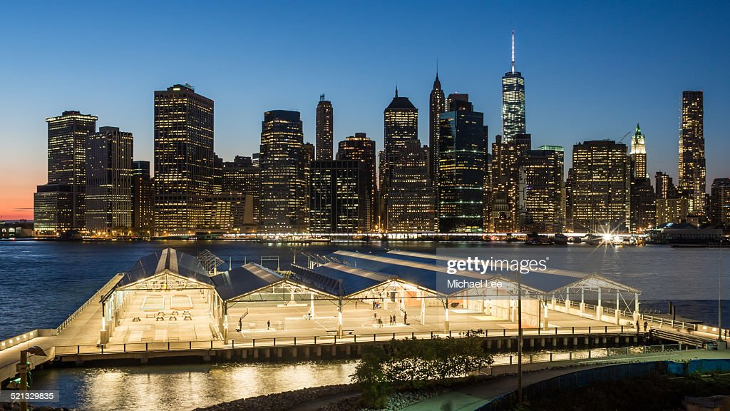 Lower Manhattan and Pier 2 at night