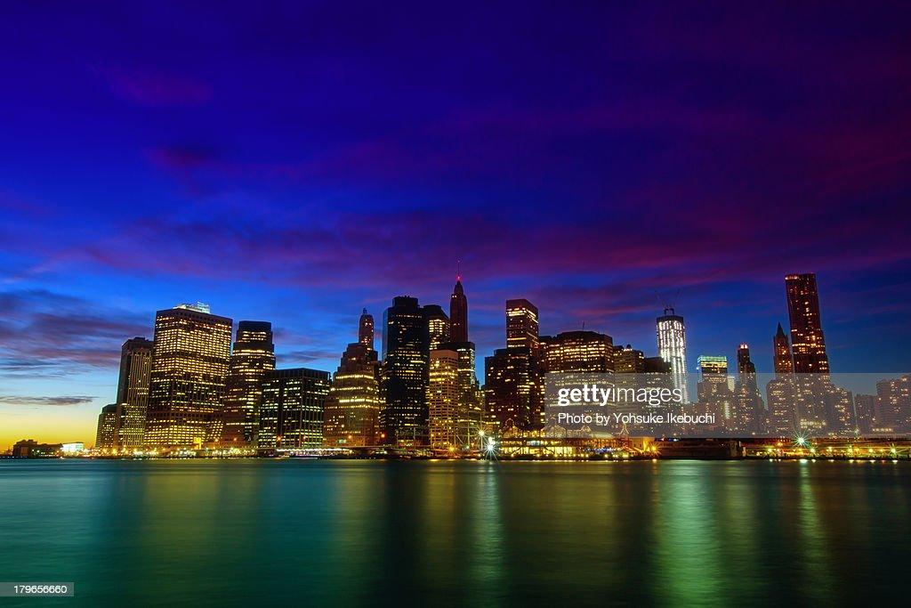 Lower Manhattan at purple dust