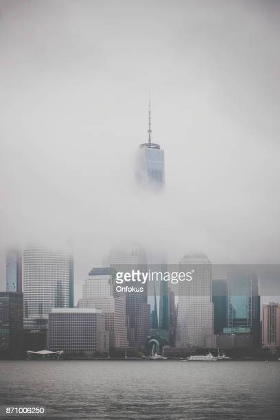 Lower Manhattan Cityscape on Cloudy Day, NYC, USA