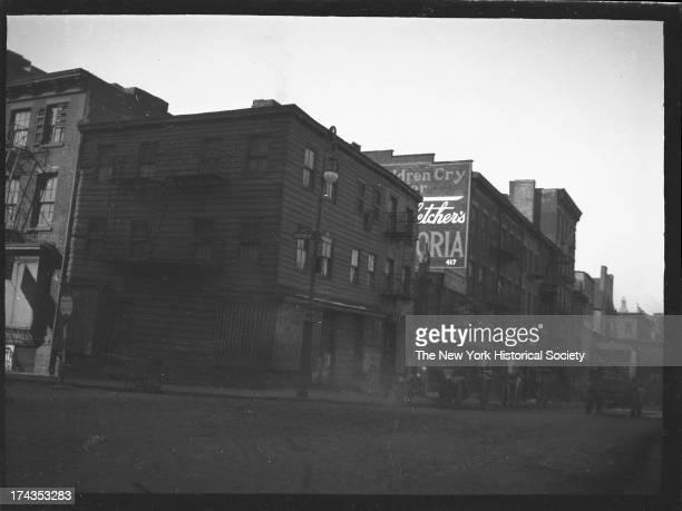 frame building at southwest corner of Bayard Street and Chrystie Street Demolished June 1929 New York New York mid 1920s