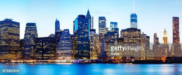Lower Manhattan Illuminated at Dusk, New York