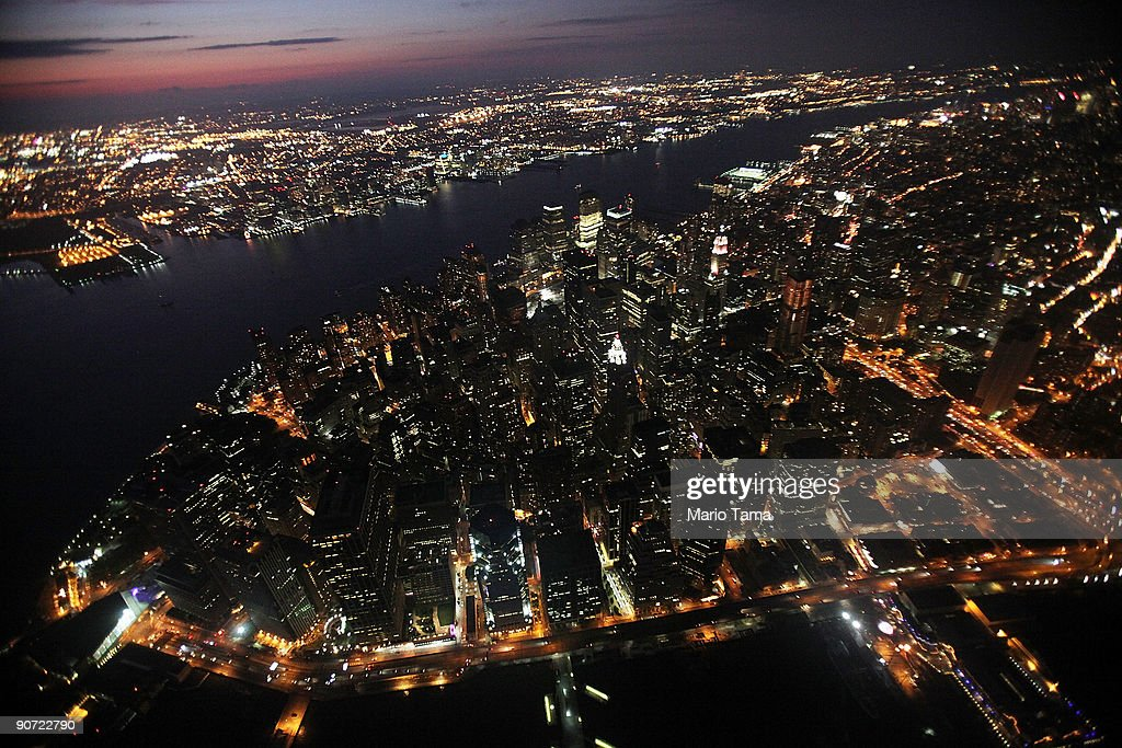 Lower Manhattan is lit up as night falls September 13, 2009 in New York City.