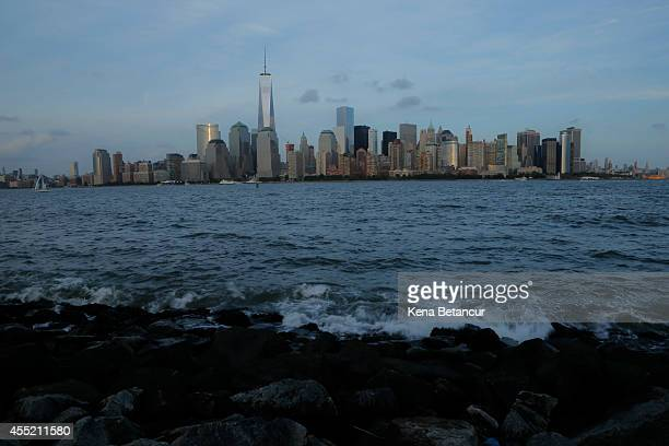 Lower Manhattan is seen from Liberty State Park on September 10 2014 in Jersey City New Jersey Tomorrow marks the 13th anniversary of the 9/11...