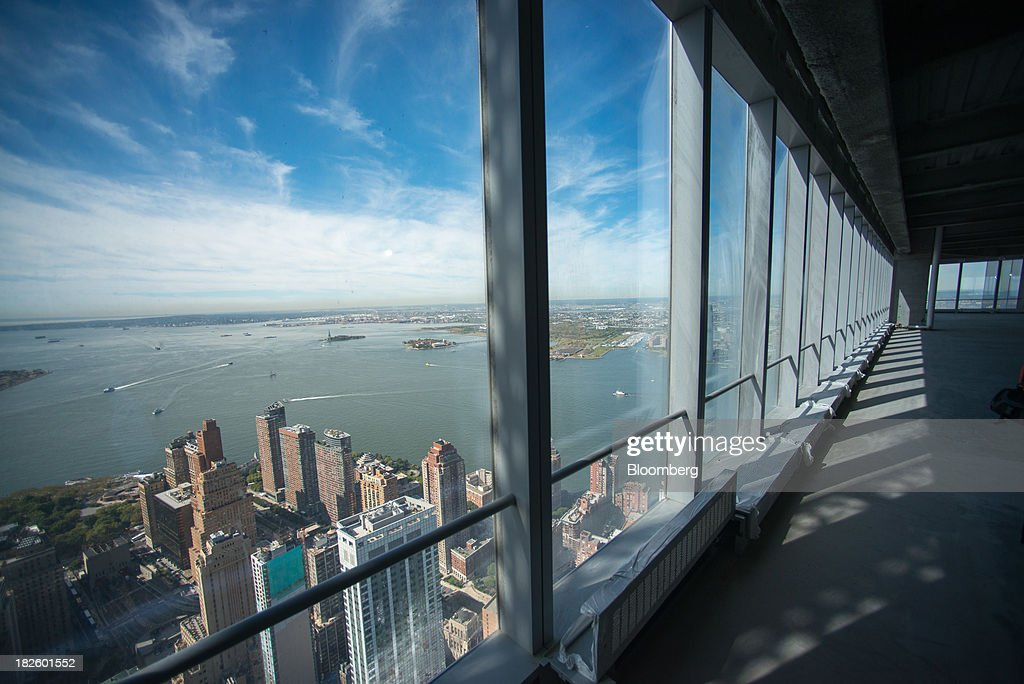 Lower Manhattan is seen from the 71st floor of the 4 World Trade Center building, managed by Silverstein Properties Inc., in New York, U.S., on Wednesday, Sept. 25, 2013. Real estate developer Larry Silverstein cant recoup any of the $1.2 billion recovered by World Trade Center insurers in settlements with airlines and airport security companies over the Sept. 11, 2001, terrorist attack that destroyed the office complex, a judge ruled. Photographer: Craig Warga/Bloomberg via Getty Images