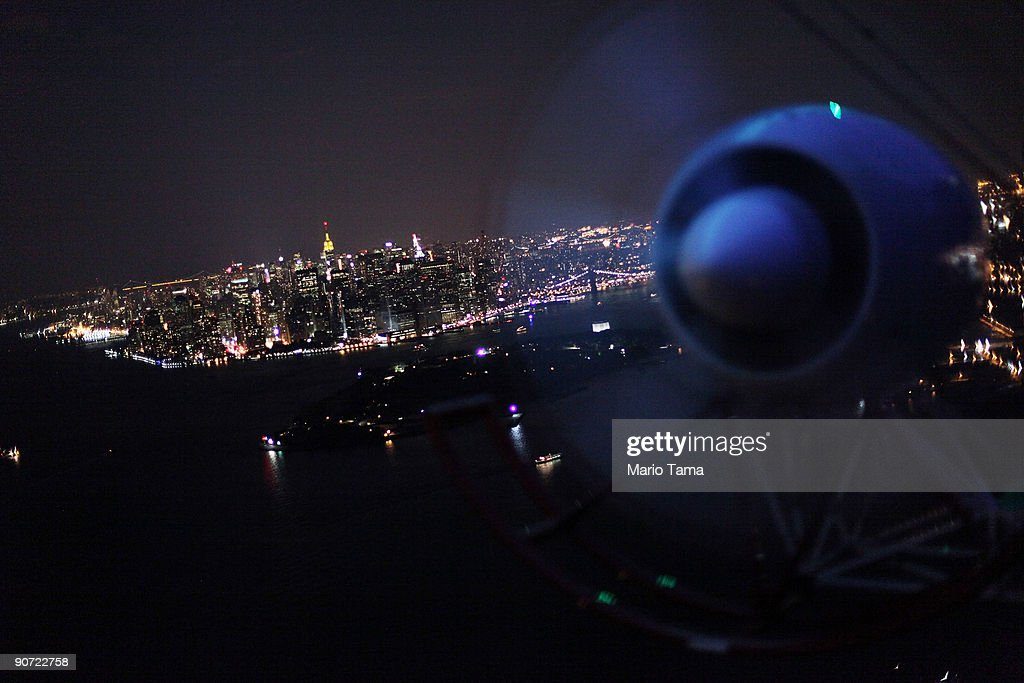Lower Manhattan is seen from the DIRECTV blimp September 13, 2009 in New York City.