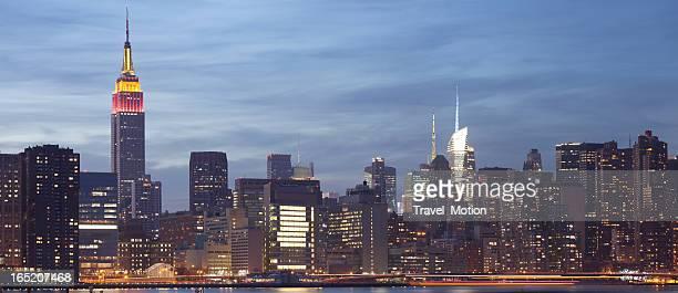 Lower Manhattan skyline at dusk panoramic